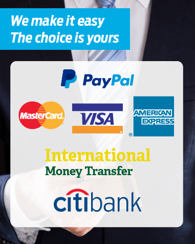 We accept payments through direct bank transfers, major credit cards & PayPal. Payment terms vary per shipment (export or import) and couriers (local or international).